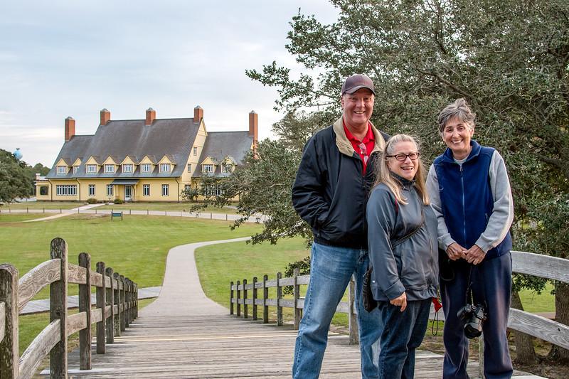 Bob, Joy & Mercedes on bridge leading to the Whalehead house