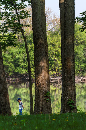 Meandering Along Meandering Along.. Dad, behind tree, and little boy meandering along the Fox River bank.  I though this scene played nicely into the P16 project.