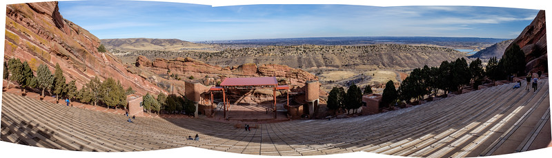 30 Jan 2017. Red Rocks Amphitheater - handheld 3 shot pano processed in LR. Not bad, IMHO for the Fuji X100T.