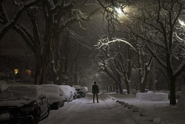 A snowy night in Seattle, WA.