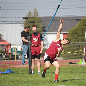 Hunter Dorr throws the javelin at the Hancock County track meet in Ellsworth on May 19. Photo by John Richardson