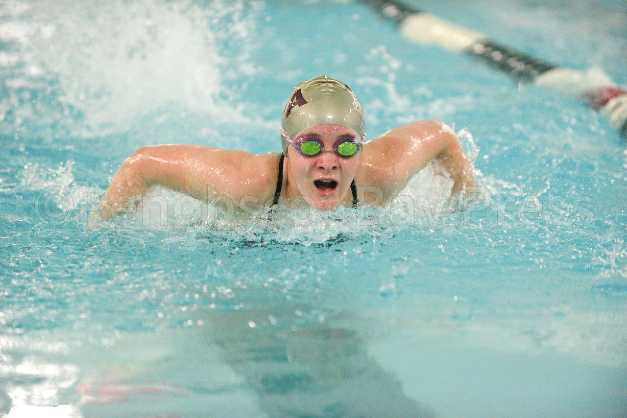 Ellie Gellerson swims her leg of the 200 yard medley relay.  Photo by Franklin Brown