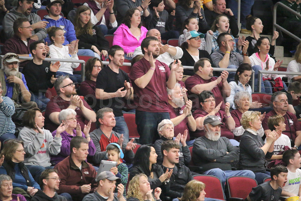 George Stevens Academy fans react. Photo by Anne Berleant