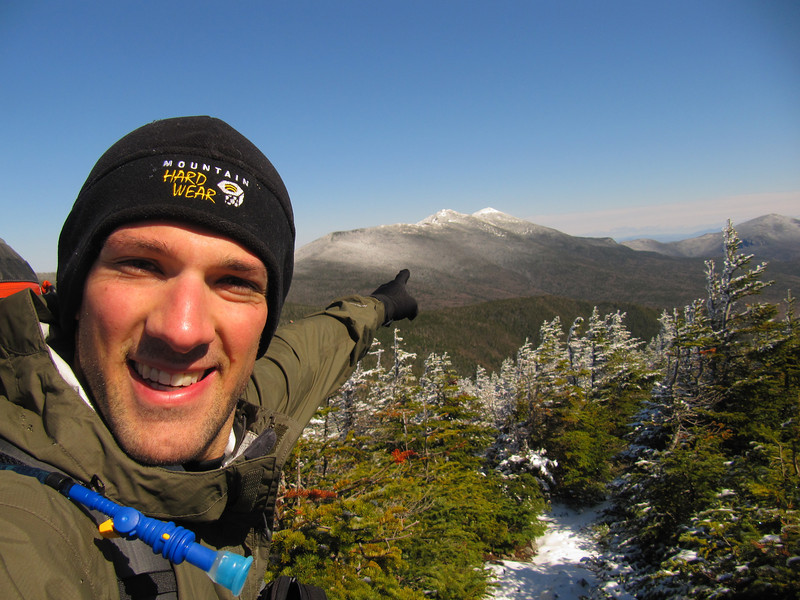 The Franconia Ridge and Mt Laffayett on a winter trek in the Pemiguasset Wilderness NH
