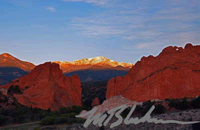 Sunrise on Pikes Peak and the Garden