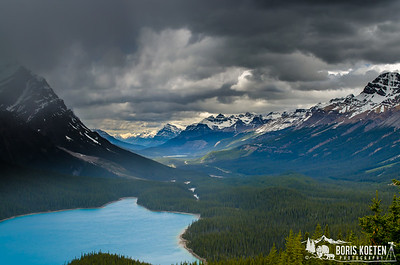 Dark rain clouds over Peyto Lake in Banff National Park along the Icefields Parkway