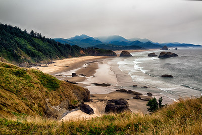 Cannon Beach under smoked sky
