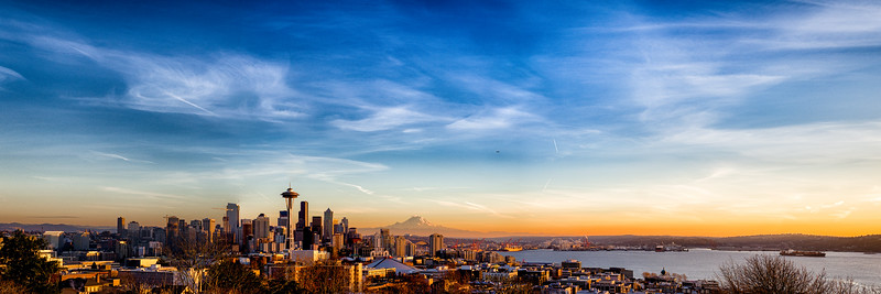 Seattle from Queen Ann with Mount Rainier clearly visible