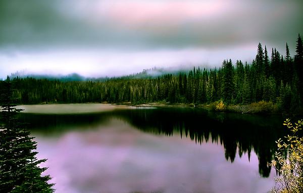 Foggy Mountain Lake Sunrise