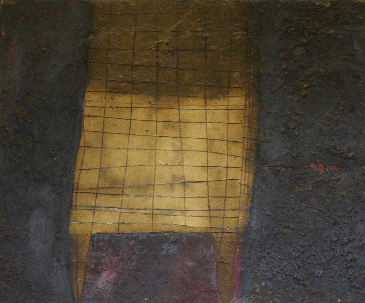the chair - la silla<br /> oil/earth on canvas<br /> 65cm x 54cm  sold