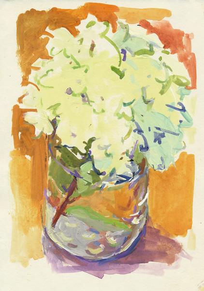"Hydrangea, 6 5"" x 4 5"", acrylic on paper"
