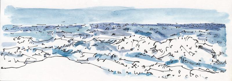 "Wavilinear Flow - Ocean, 5 25"" x 8"" ink & watercolor"