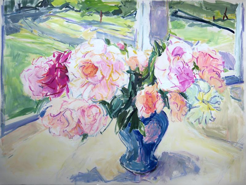 "Light through Summer Window- Peonies, 22 5"" x 29"", acrylic & pastel"