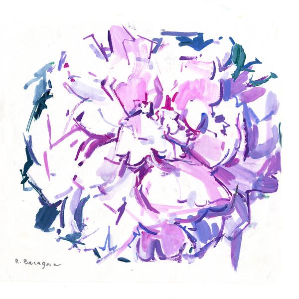 "Harmonious Petal Dance, 7"" x 7 5"", acrylic on paper"
