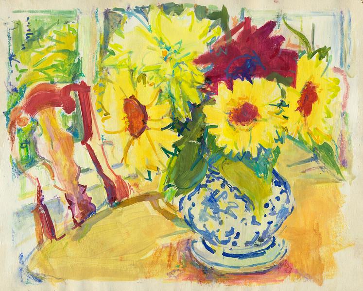 "Diningroom Sunflowers, 8""x10"", acrylic & pastel"
