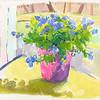 "Tim's Flowers, 7.5""x8.5"", acrylic on paper"