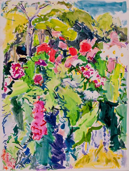 "Riot-Dahlias, 9""x12"", acrylic & pastel"