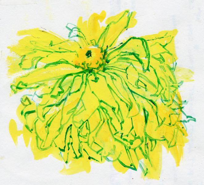 "Falling Away, 5""x4.5"", acrylic on paper"