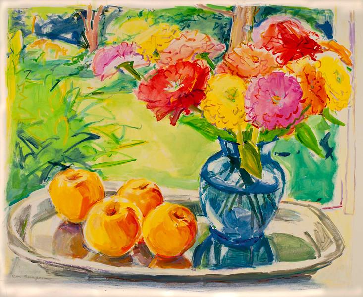 "Summer Abundance, 17""x20"", acrylic on paper"