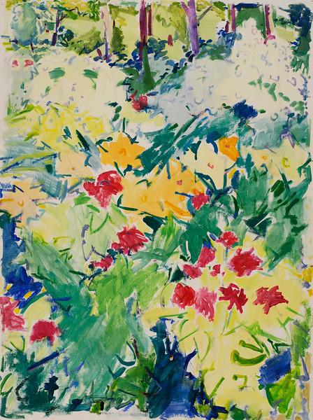 """Daylily Waltz, 17""""x23"""", acrylic on paper"""