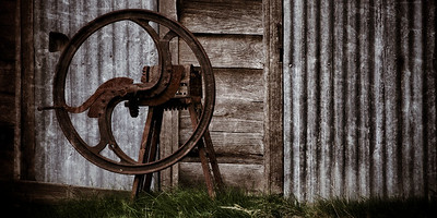 An old chaff cutter next to an old farm shed. ~WIDE VIEW~