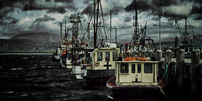 Commercial trawlers lined up at the old Eden Wharf New South Wales Australia. ~WIDE VIEW~