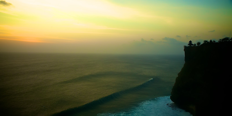 Uluwatu Cliff Temple Sunset - Sunset at the cliffside Hindu temple at Uluwatu, Bali. ~WIDE VIEW~
