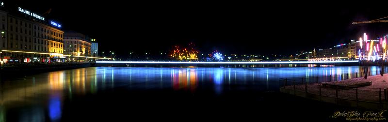 Lake Geneva decorated colorfully during Christmas and New Year - Geneva, Switzerland