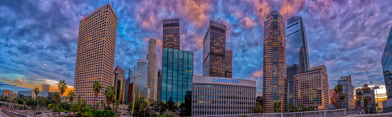 Downtown LA at sunset.