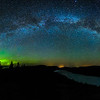 Milky Way pano with aurora over frozen Lake of the Clouds 01