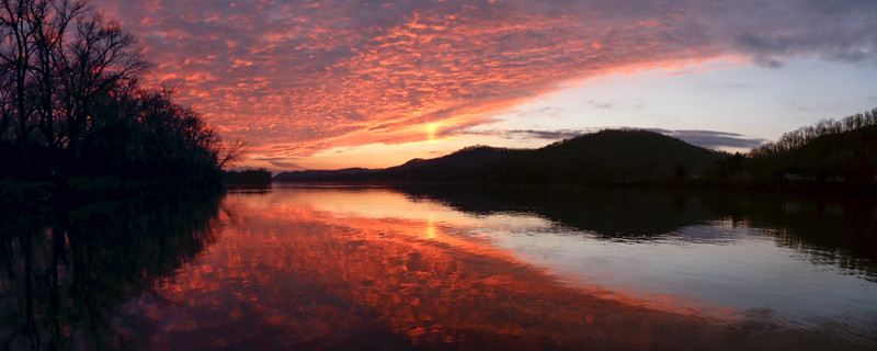 Ohio River Sunset Panorama 9741
