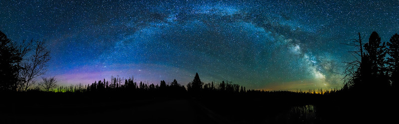 Milky Way and Aurora over Pine River in Headwaters Wilderness 01