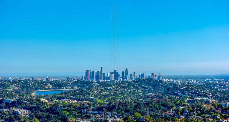 Downtown Los Angeles with Silver Lake in the foreground.