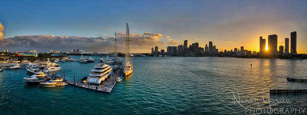 Miami Sunset from the Bridge Panoramic