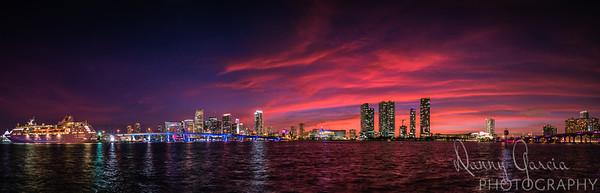 Downtown Miami Sunset Panoramic