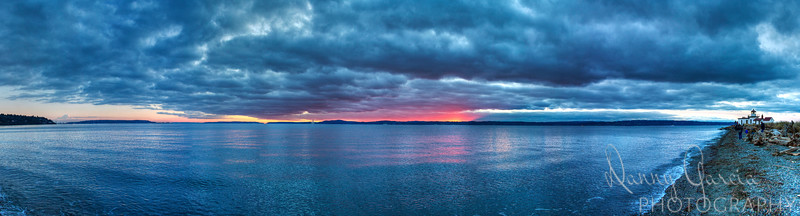 I was in Seattle for one day.  Literally flew in in the morning, and flew home that night - just to get a photo of the sunset from the Pacific coast.  Far off the left is a view of Mount Rainer.  Up the coast to the right is the West Point Lighthouse.