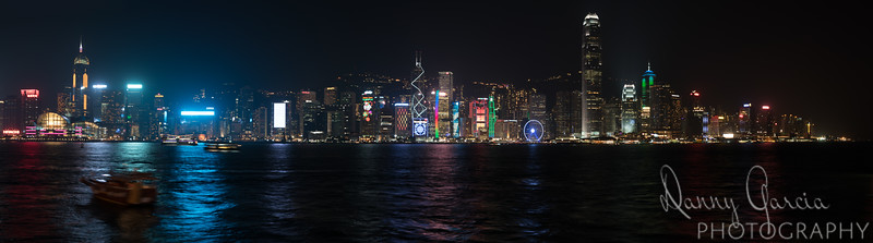 Hong Kong's Victoria Harbor Night Panoramic