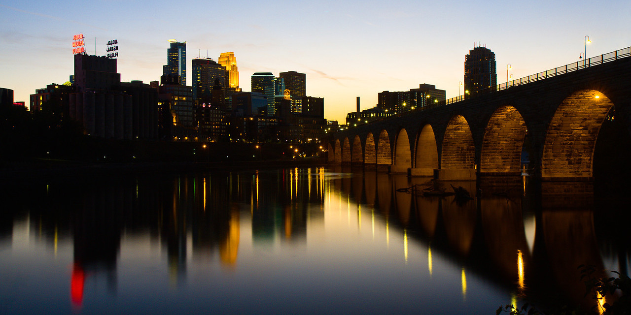 Minneapolis Skyline at Sunset.