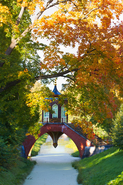 Chinese pavilion in autumn park