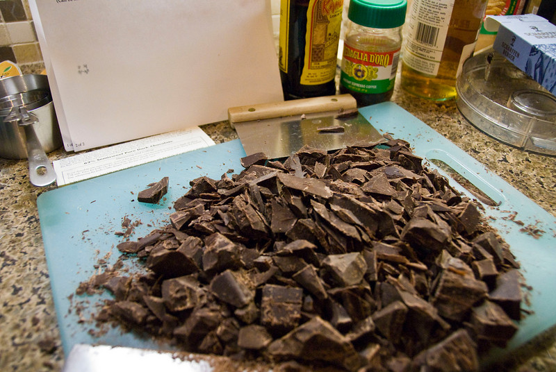 A portion of the 1.6+ lbs of Scharffen Berger Chocolate for Cappuccino Fudge Cheesecake.