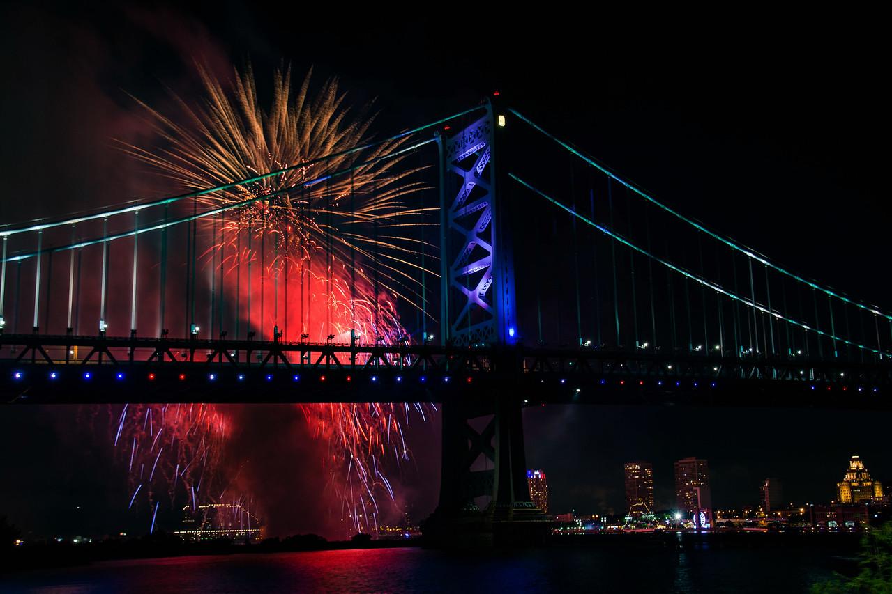Fireworks Over Ben Franklin Bridge - July 1, 2017