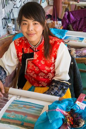 Silk embriodery. Yuhu village, Yunnan, China