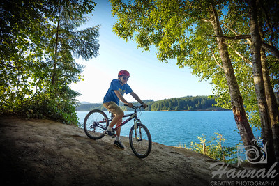 A boy biking downhill at Henry Hagg Lake & Scoggins Valley Park in Oregon  © Copyright Hannah Pastrana Prieto