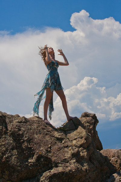 """Making of a storm"" was the result of model vs. wind on top of Flagstaff Mountain."
