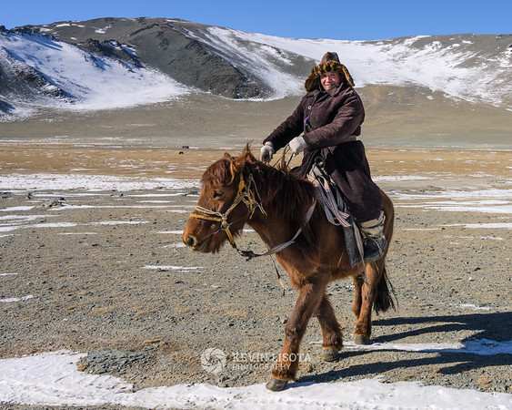 Nomadic herder during his spring migration in Western Mongolia