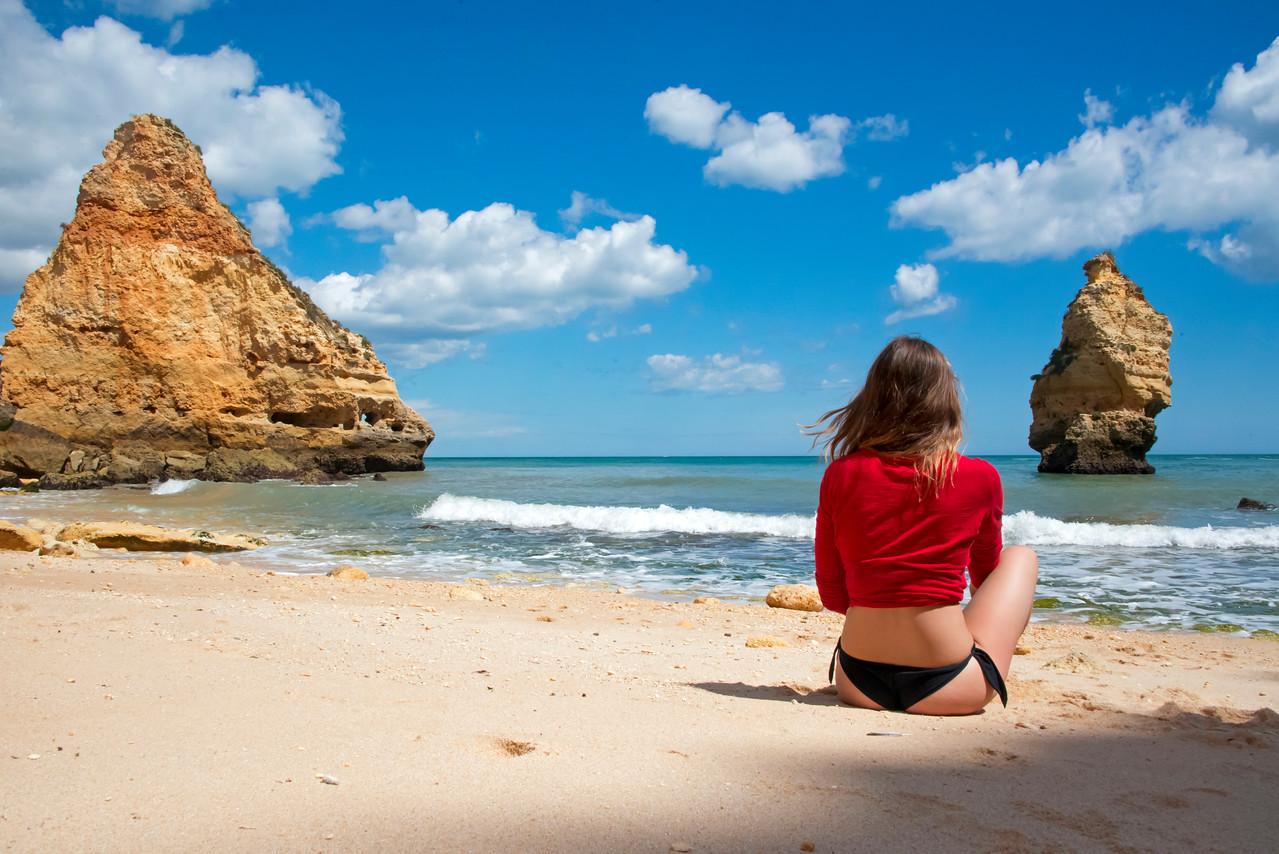 White sand beach Algarve Portugal