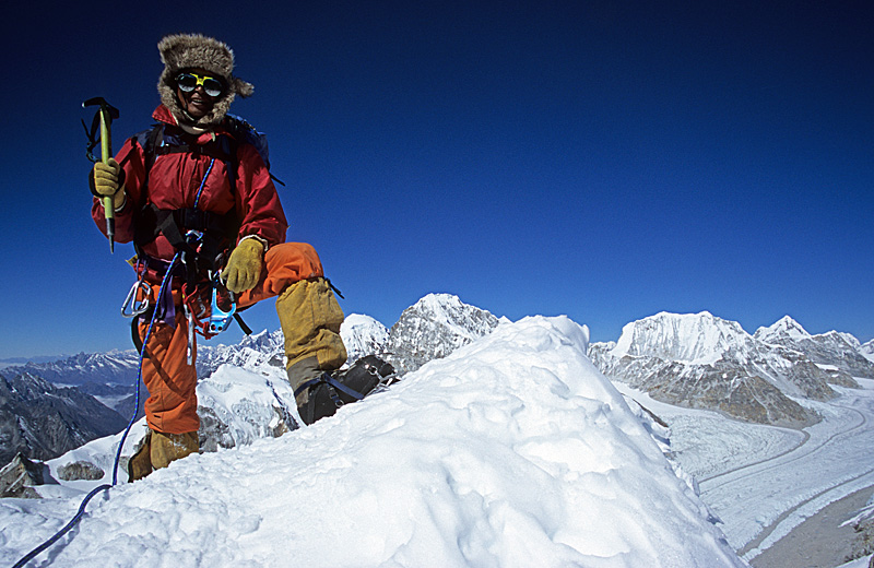 Summit  / Galden Sherpa on the summit of Parchamo / Rolwaling Himal, Nepal