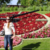 Beautiful Lady in front of Flower Clock , Geneva - Switzerland