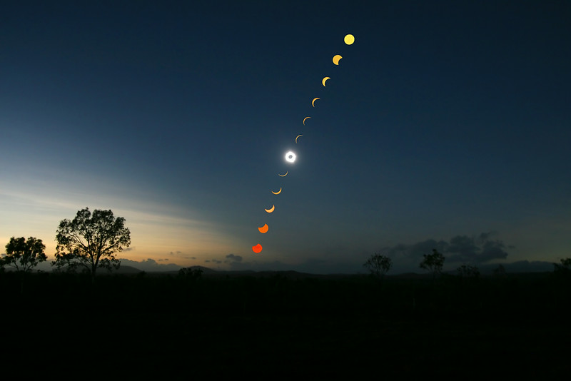 Solar Eclipse 2012 @Lakefield, Queensland (stacked multiple images together)