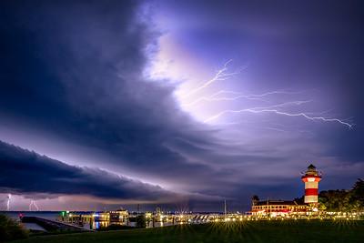 Lightning Storm over Harbor Town Lighthouse